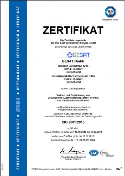 GESAT TÜV-Zertifikat ISO 9001:2015